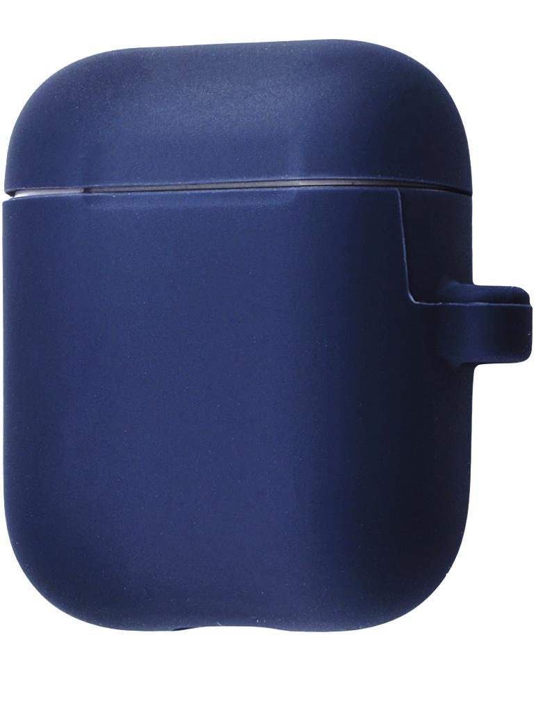 Аксессуар Чехол Krutoff для AirPods 2 Hang Case с карабином Dark Blue 10878