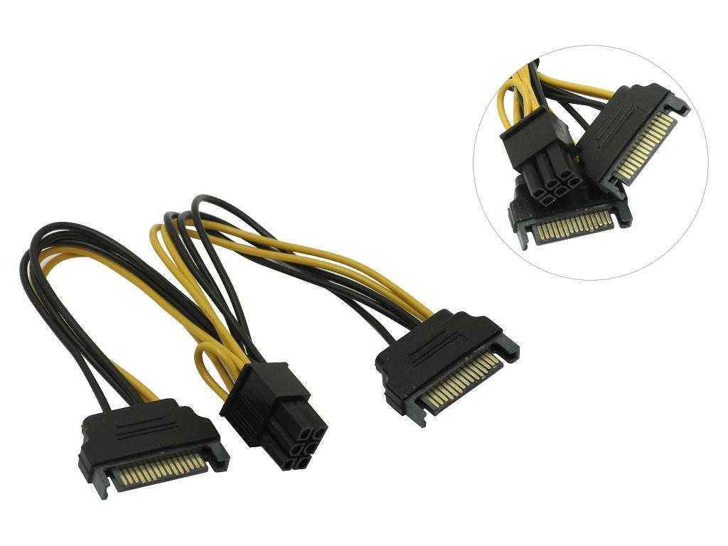 Аксессуар Кабель переходник питания Akasa 2х SATA Power to 6pin PCIe 15cm AK-CBPW13-15
