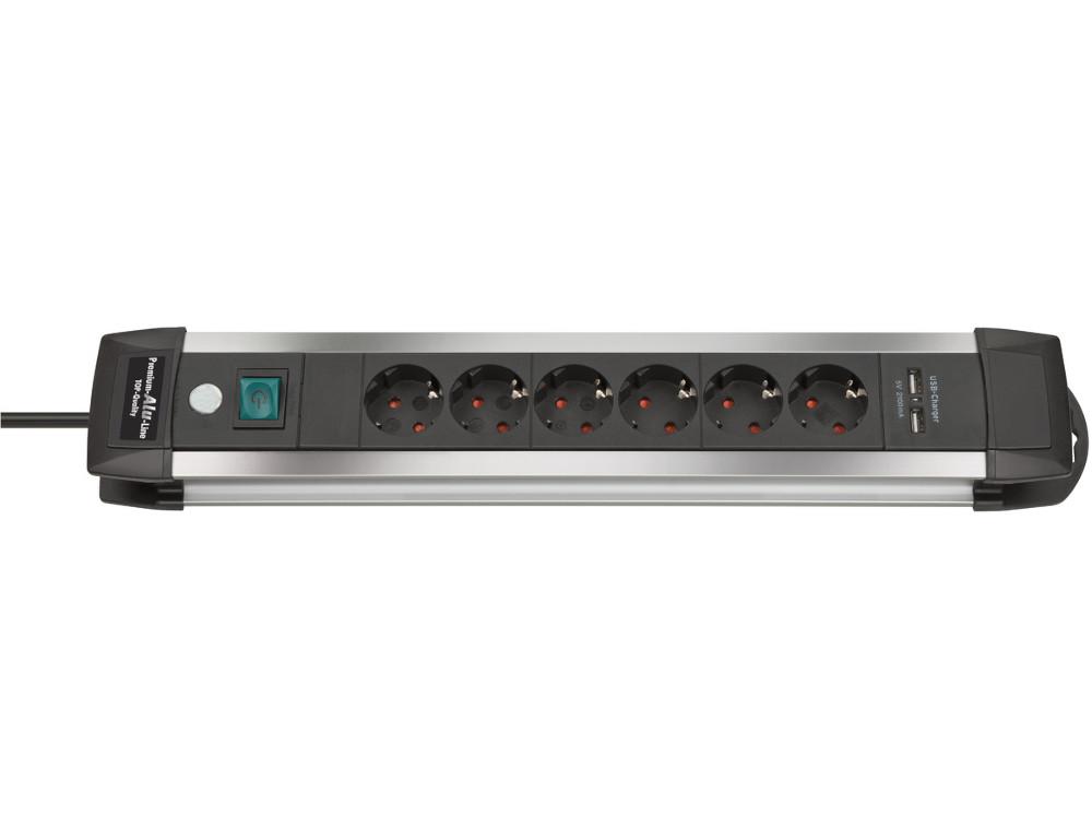 Удлинитель Brennenstuhl Premium-Alu-Line 6 Sockets 3m 1391000516