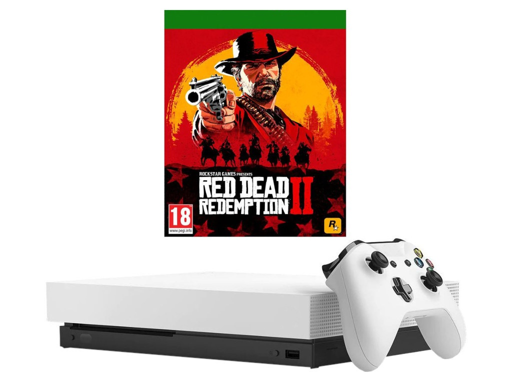 Игровая приставка Microsoft Xbox One X 1Tb White + Red Dead Redemption 2
