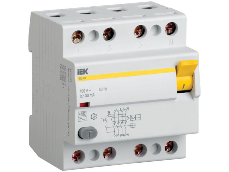 Дифференциальный автомат IEK 4п 25А/30мА MDV10-4-025-030