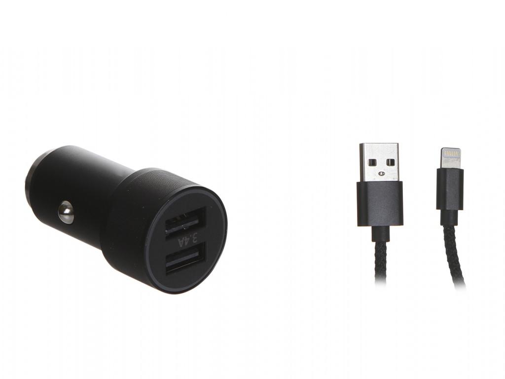 Зарядное устройство Baseus Small Screw 3.4A Dual-USB Car Charging With Lightning Cable Set Black TZXLD-A01