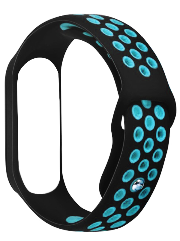 Aксессуар Ремешок DF для Xiaomi Mi Band 3/4 xiSportband-02 Black-Blue