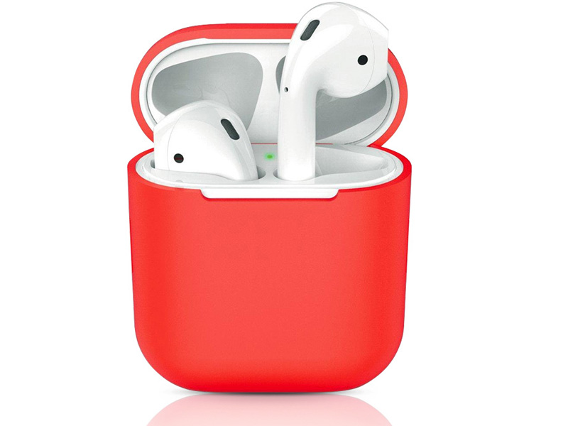 Аксессуар Чехол DF для Apple Airpods 1/2 iAir-01 Red