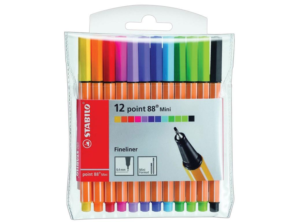 Ручки капиллярные Stabilo Point 88 Mini 12 штук 688/12-1 ручки капиллярные stabilo стабило point88 набор 25цв 0 4мм в красно синем нейлоновом футляре