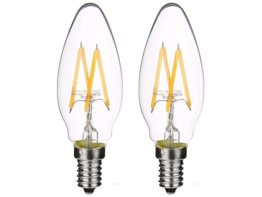 Лампочка Gauss Filament Свеча E14 5W 2700K 420Lm Warm Light 2шт 103801105P