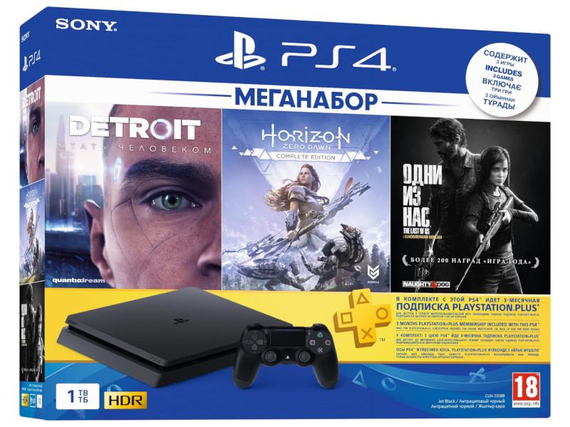 Игровая приставка Sony PlayStation 4 1Tb + HZD + Detroit + TLoUS + PS 3 месяца Выгодный набор + серт. 200Р!!! цена 2017