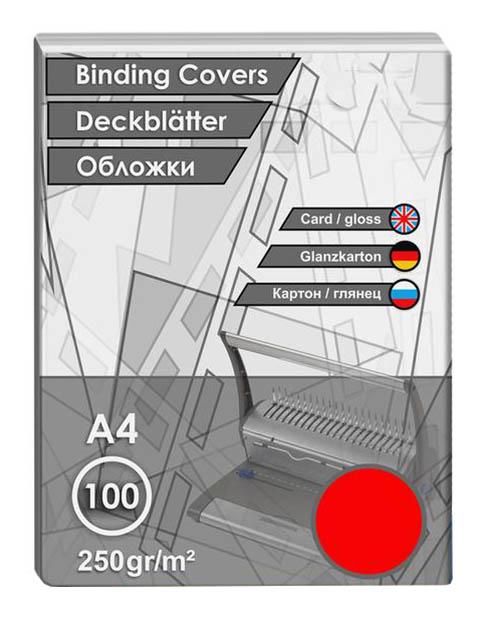 Обложки для переплета ProfiOffice A4 250g/m2 100шт Картонные Red 682335