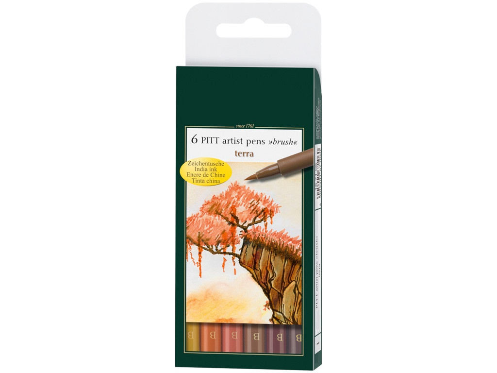Набор капиллярных ручек Faber-Castell Pitt Artist Pen Brush Terra 6 цветов 167106