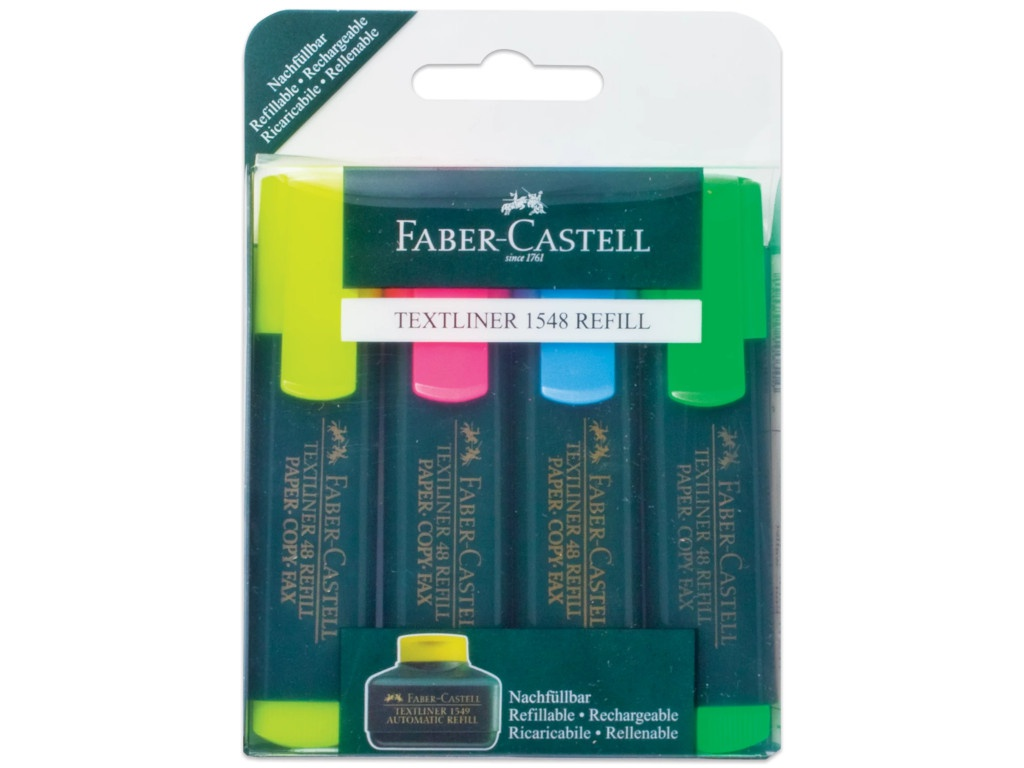 Маркер Faber-Castell Textliner Refill 1548 1-5mm 4 цвета 154804 маркер faber castell multimark winner 54 5 0mm red 157921