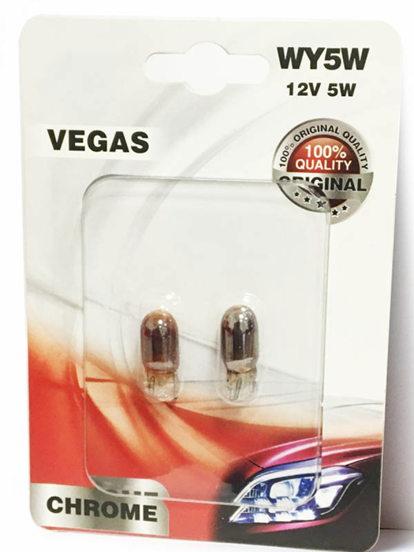 Лампа AVS Vegas Chrome WY5W W2.1x9.5d 12V Yellow (2 штуки) A07113S