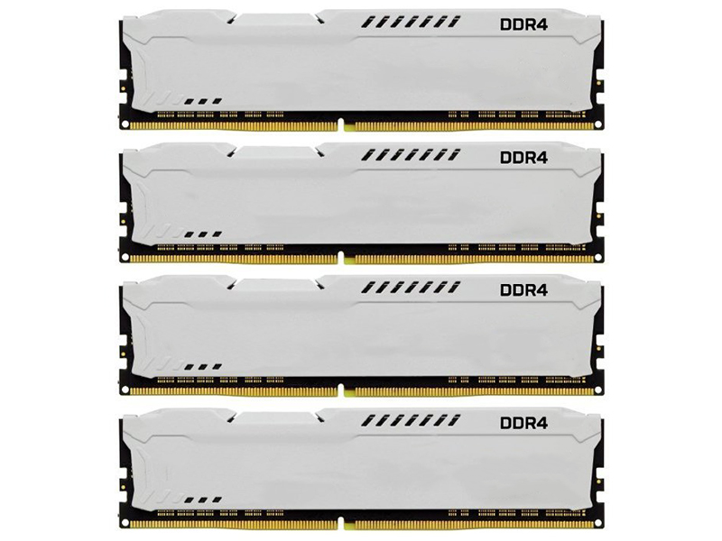 Модуль памяти Kingston HyperX Fury White DDR4 DIMM 2933MHz PC4-23466 CL17 - 32Gb KIT (4x8Gb) HX429C17FW2K4/32 модуль памяти ddr4 kingston 16gb kit 8gbx2 2933mhz hyperx fury red series cl17 [hx429c17fr2k2 16]