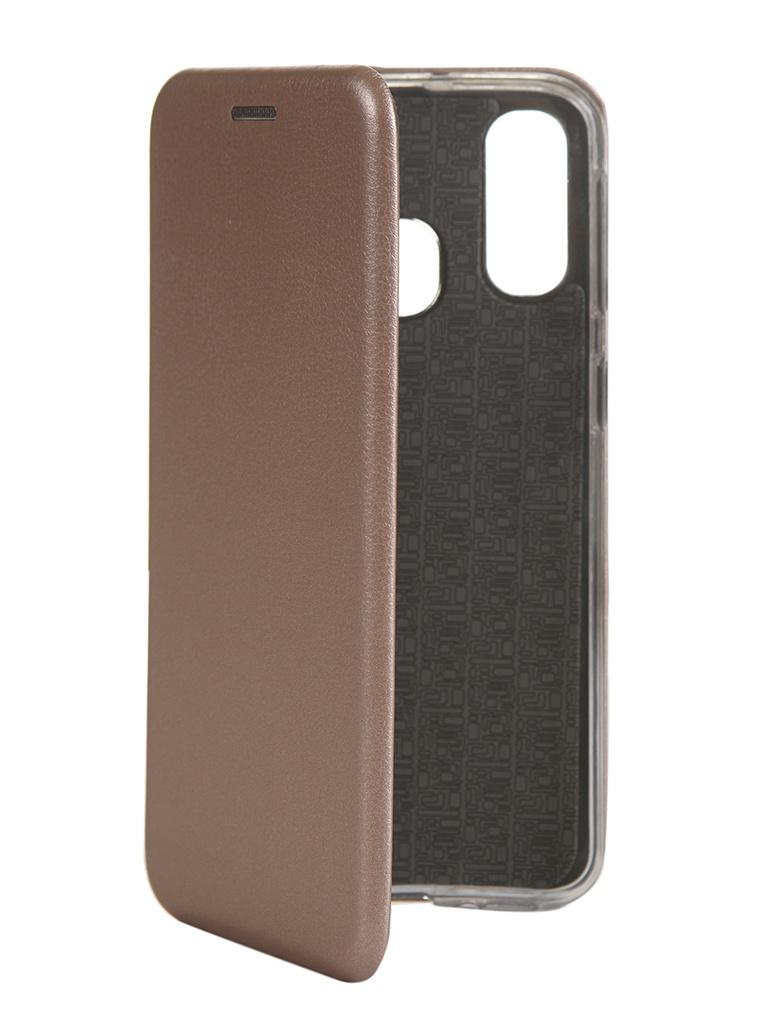 Чехол Innovation для Samsung Galaxy A40 Book Silicone Magnetic Rose Gold 15287