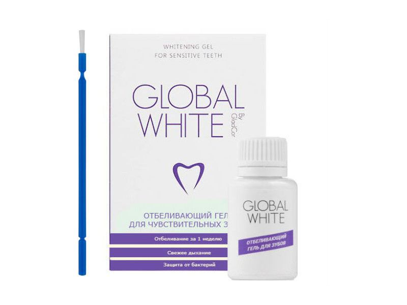 Гель отбеливающий для чувствительных зубов Global White 15ml + микрощетка 4605370004205