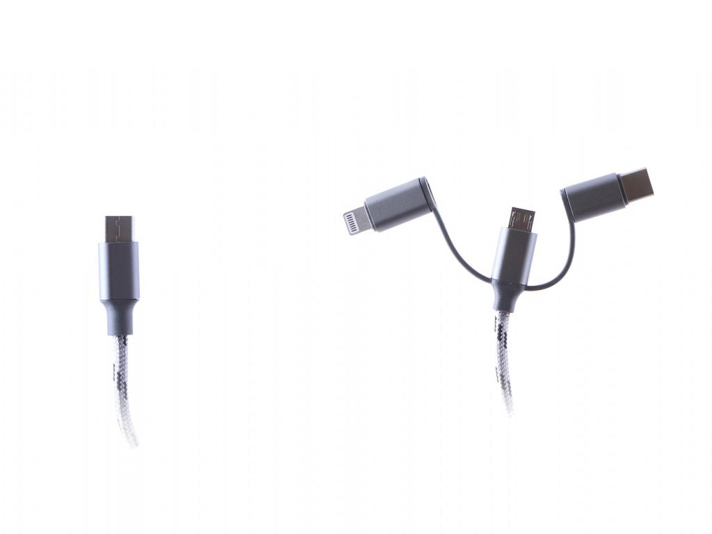 Аксессуар Espada 3в1 EtyC3i1gr Micro USB + Type-C Lighting 20cm Grey