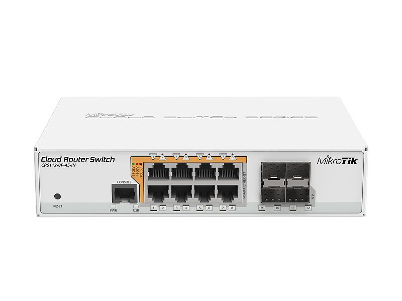MikroTik CRS112-8P-4S-IN маршрутизатор mikrotik ccr1036 8g 2s 8x10 100 1000mbps 2xsfp 1xmicrousb