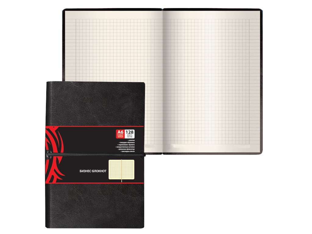 Бизнес-блокнот Brauberg Black Jack А6 128 листов 125243