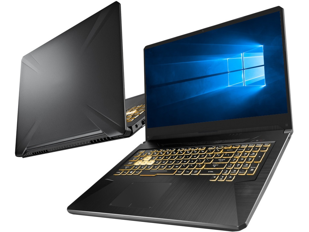 Ноутбук ASUS ROG FX705DT-AU101T 90NR02B1-M02070 (AMD Ryzen 5 3550H 2.1GHz/16384Mb/1000Gb + 256Gb SSD/No ODD/nVidia GeForce GTX 1650 4096Mb/Wi-Fi/Cam/17.3/1920x1080/Windows 10 64-bit)