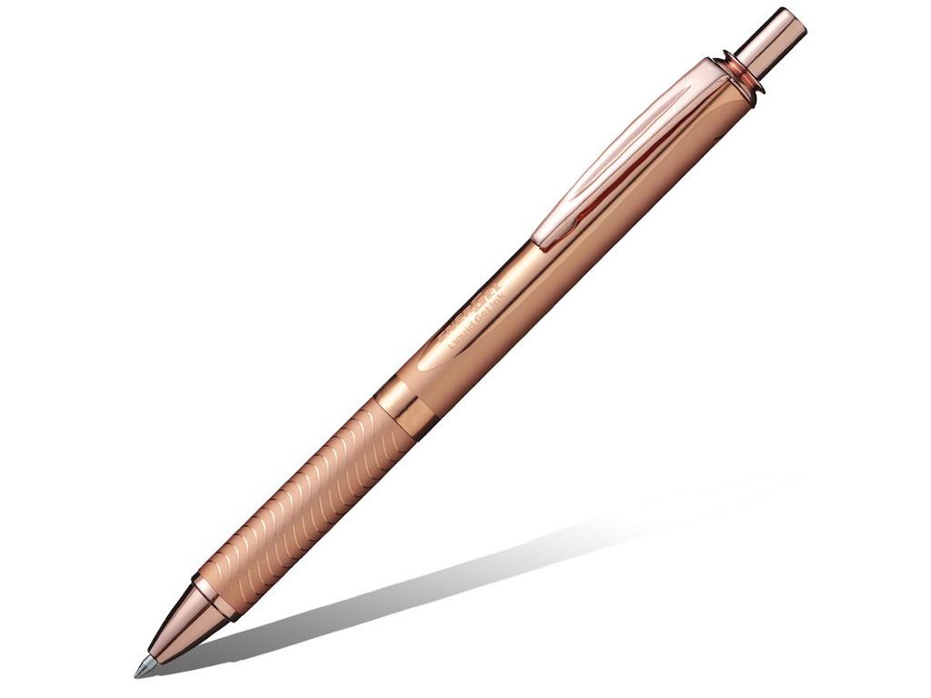 Ручка гелевая Pentel Energel Sterling корпус Pink-Gold, стержень Black BL407PG-A