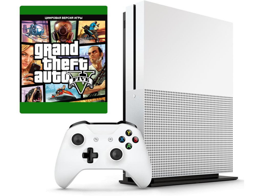 Игровая приставка Microsoft Xbox One S 1Tb White 234-00948-GTA5 + GTA 5