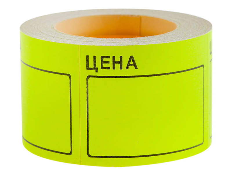 Ценник OfficeSpace 50x40mm 200шт/рулон Yellow Spt_4156
