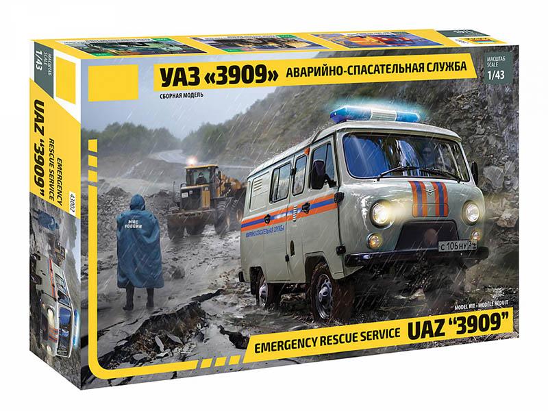 Сборная модель Zvezda УАЗ 3909 Аварийно-спасательная служба 43002