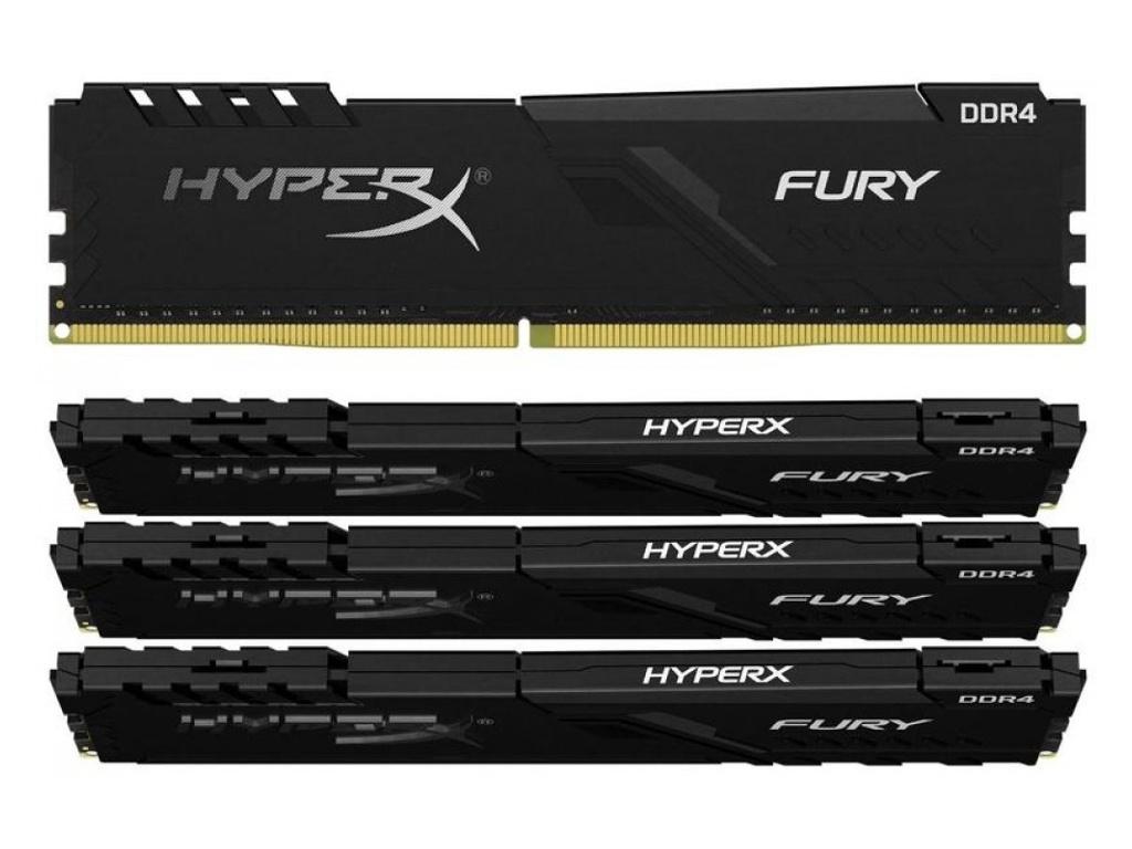 Модуль памяти Kingston HyperX Fury Black DDR4 DIMM 3200Mhz PC-25600 CL16 - 32Gb Kit (4x8Gb) HX432C16FB3K4/32