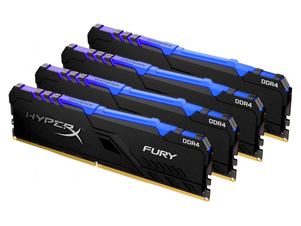 Модуль памяти Kingston HyperX Fury RGB DDR4 DIMM 2666Mhz PC-21300 CL16 - 32Gb Kit (4x8Gb) HX426C16FB3AK4/32