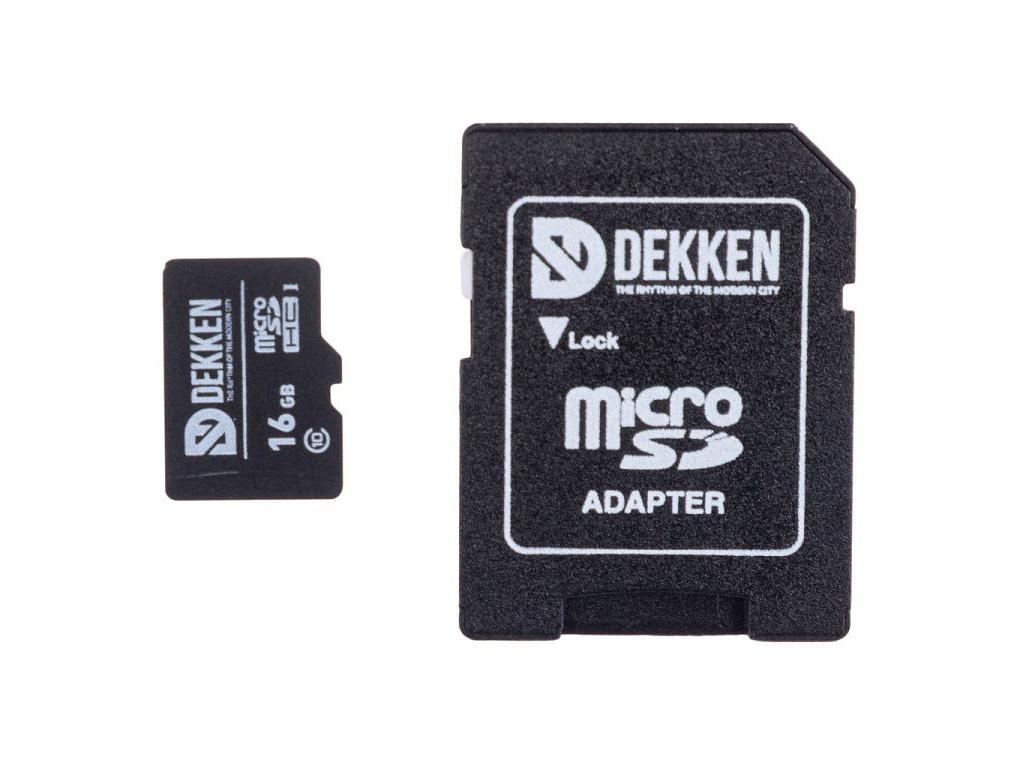 Карта памяти 16Gb - Dekken MicroSDHC Class 10 с переходником под SD 30003