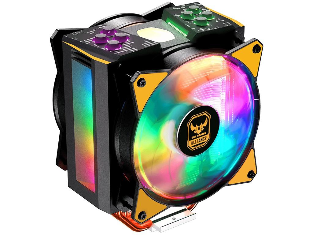 Кулер Cooler Master MasterAir MA410M TUF Gaming Edition MAM-T4PN-AFNPC-R1 (LGA2066, LGA2011-v3, LGA2011, LGA1366, LGA1156, LGA1155, LGA1151, LGA1150, AM4, AM3+, AM3, AM2+, AM2, FM2+, FM2, FM1) deepcool pu cooler 4 heat pipe double fan use for lga2011 lga1366 lga1156 lga1155 lga1150 lga775