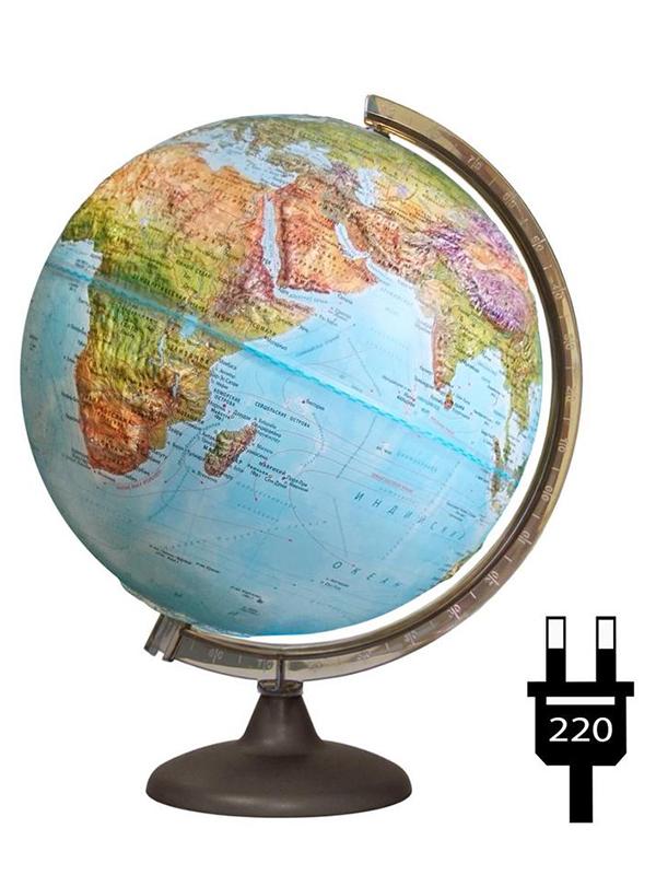 Глобус Глобусный Мир Физико-политический 320mm подсветка 17031