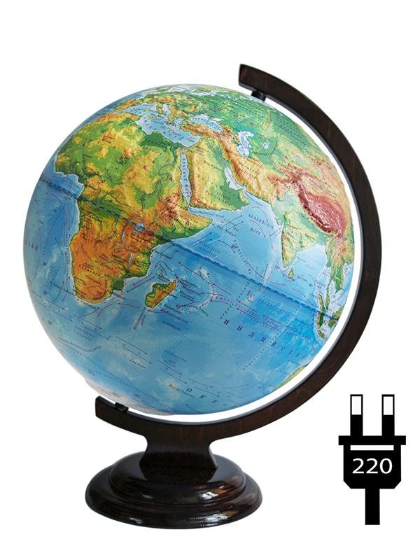 Глобус Глобусный Мир Физический 320mm рельефный с подсветкой 10206