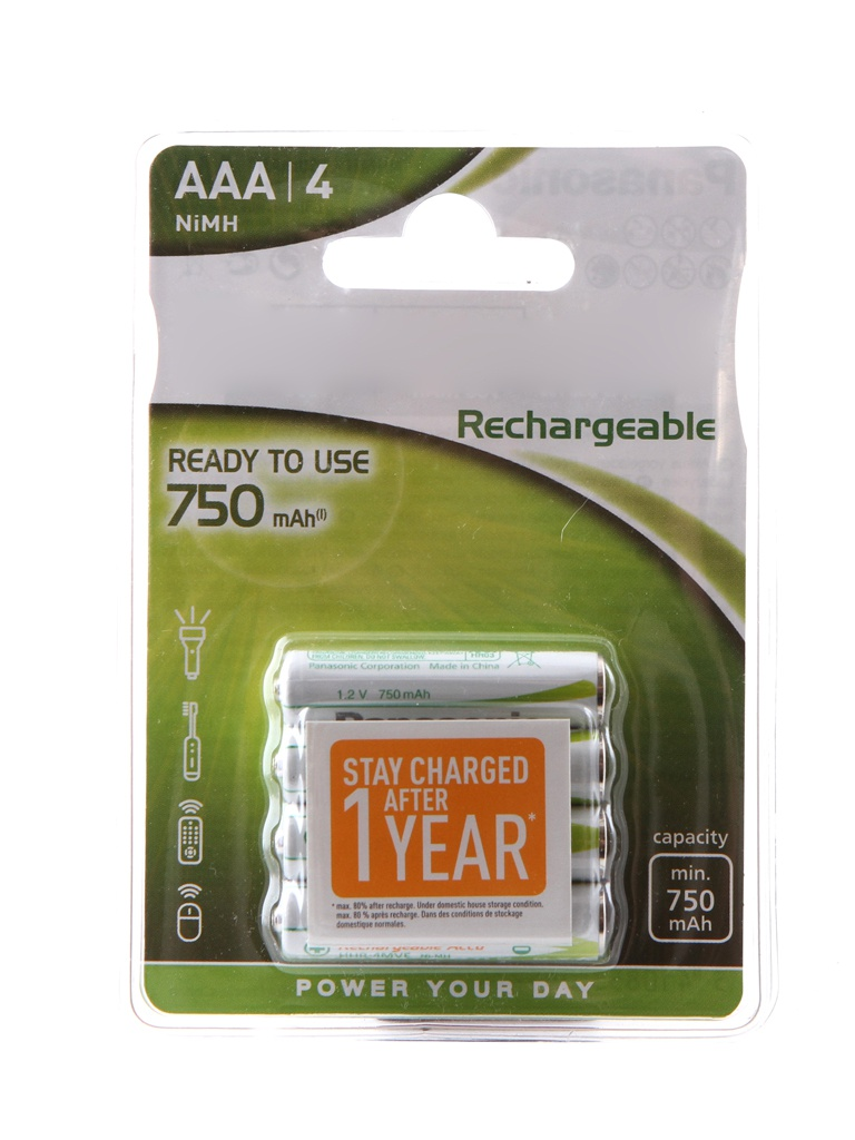 Аккумулятор AAA - Panasonic Ready to Use 750 mAh Ni-Mh (4 штуки) HHR-4MVE/4BC