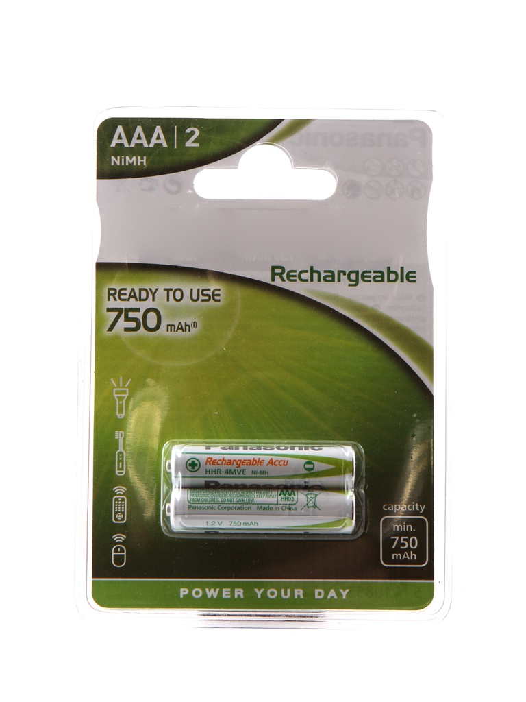 Аккумулятор AAA - Panasonic Ready to Use 750 mAh Ni-Mh (2 штуки) HHR-4MVE/2BC