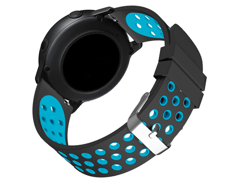 Аксессуар Ремешок DF для Samsung Galaxy Watch Active sSportband-01 Black-Blue