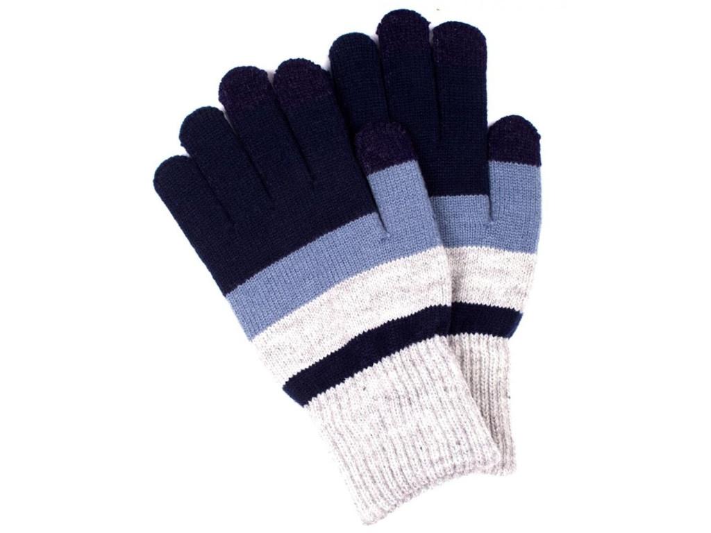 Теплые перчатки для сенсорных дисплеев Territory 0618 Grey-Blue