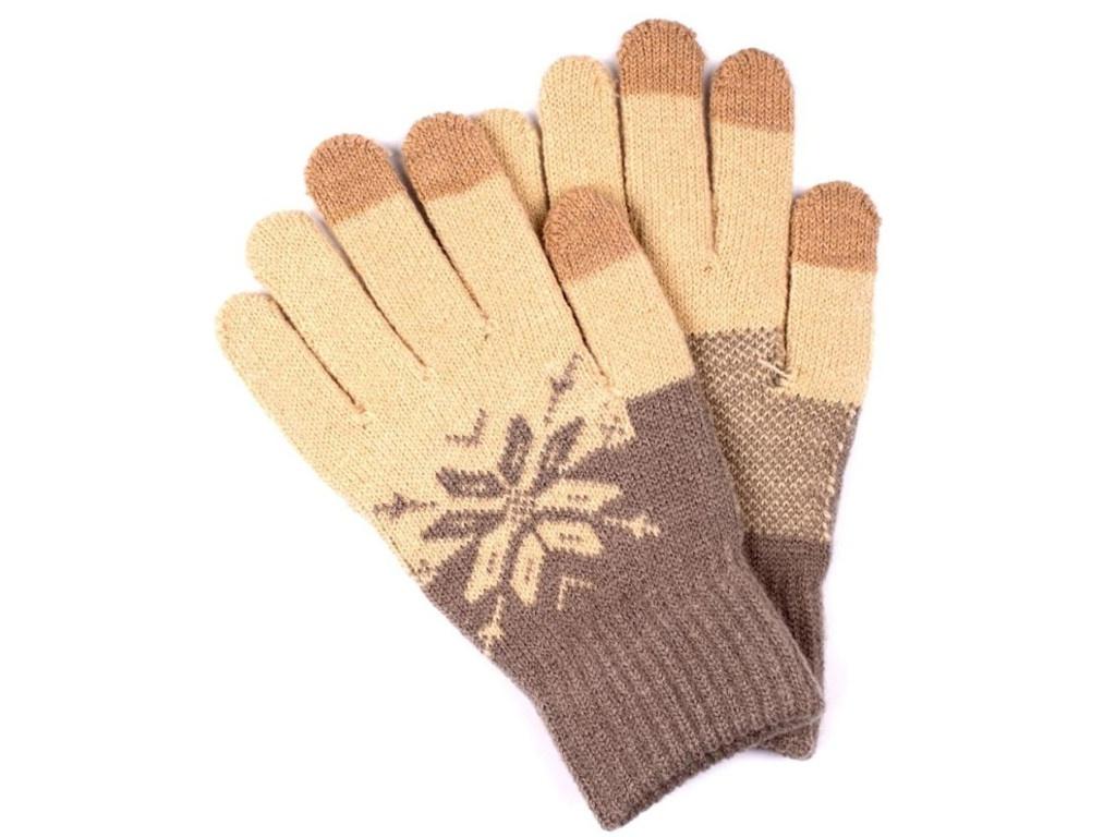 Теплые перчатки для сенсорных дисплеев Territory 0418 Grey-Beige