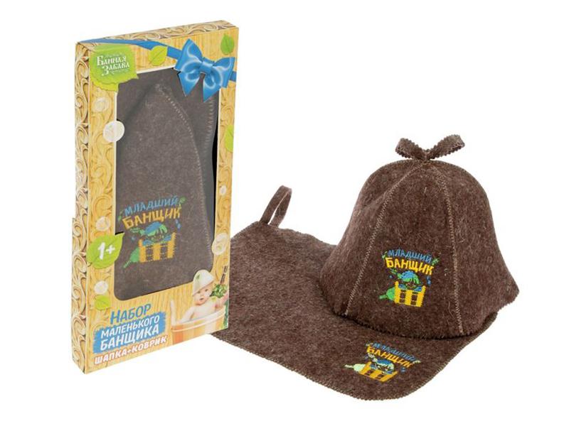 Набор Добропаровъ Младший банщик коврик и шапка 1594053
