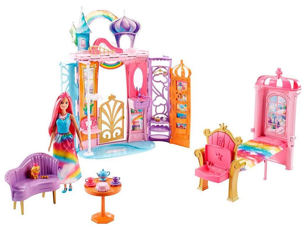 Кукольный домик Mattel Barbie Переносной радужный дворец FRB15