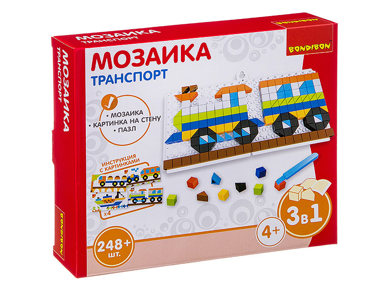 цена на Настольная игра Bondibon Мозаика Транспорт ВВ3029