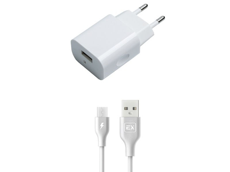 Зарядное устройство Exployd Classic 1А + MicroUSB White EX-Z-461
