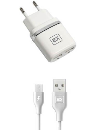 Зарядное устройство Exployd Classic 3.4A 2хUSB + MicroUSB White EX-Z-603