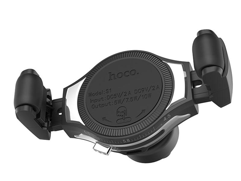Держатель Hoco S1 In-Car Wireless Charging Phone Holder Silver