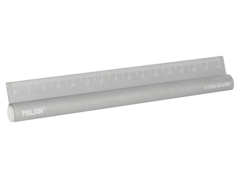 Линейка Milan металл 15cm +ластик 971892