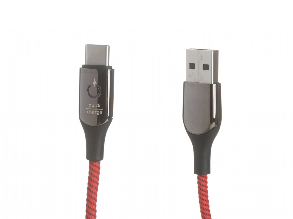 Аксессуар Baseus C-Shaped Light Intelligent Power-Off Cable USB - Type-C 3A 1m Red CATCD-09
