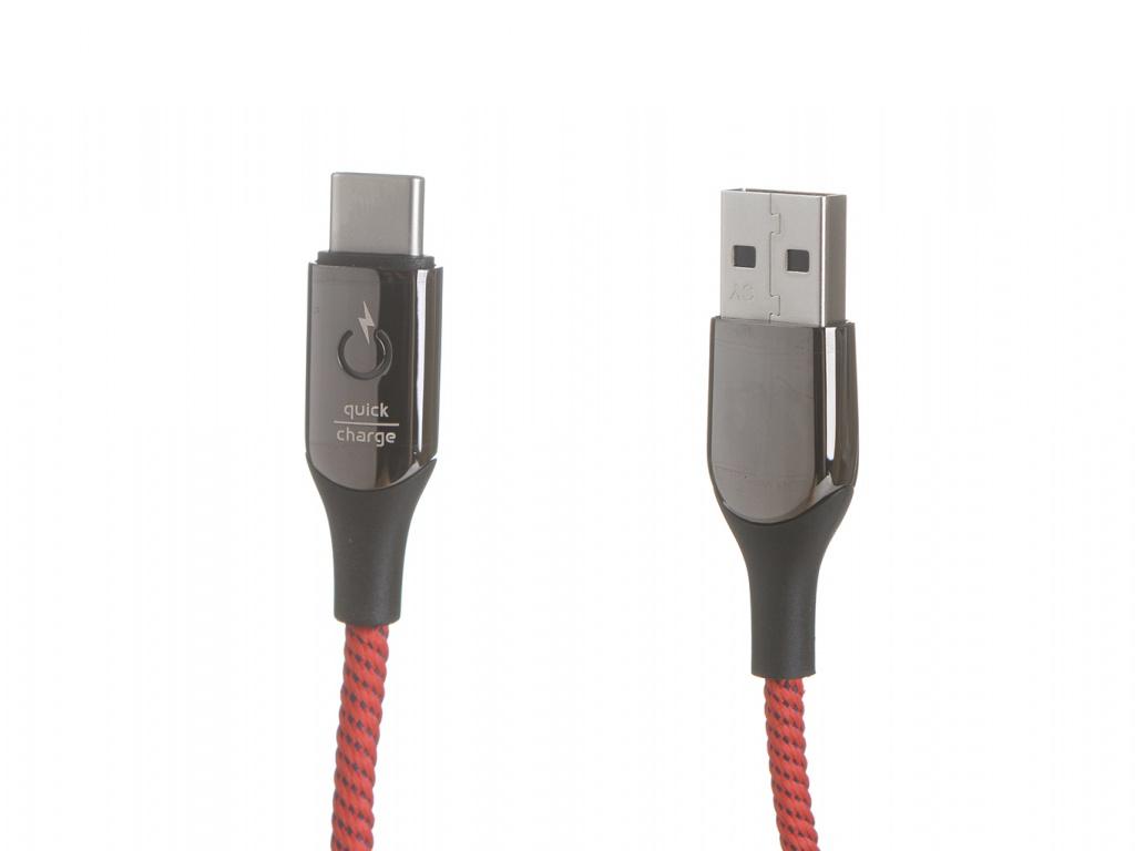 Аксессуар Baseus C-Shaped Light Intelligent Power-Off Cable USB - Type-C 3A 1m Red CATCD-09