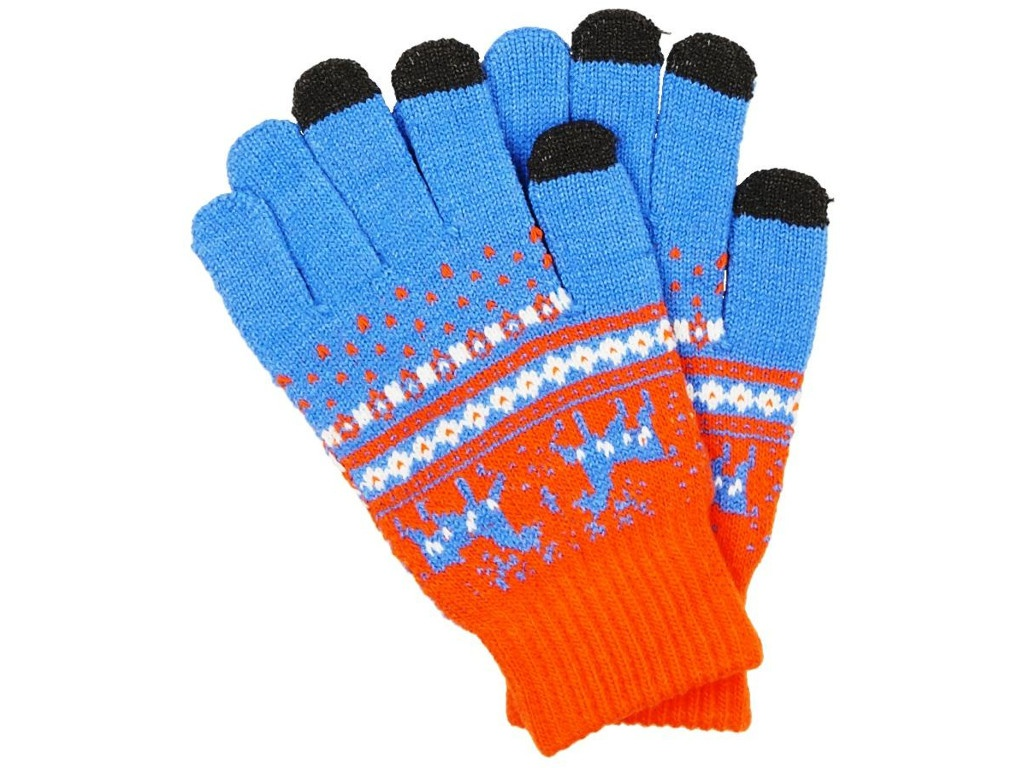 Теплые перчатки для сенсорных дисплеев Territory р.UNI Orange-Light Blue 1615