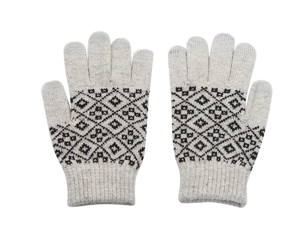 Теплые перчатки для сенсорных дисплеев Territory р.UNI Black-White 1014