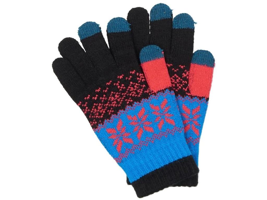 Теплые перчатки для сенсорных дисплеев Territory р.UNI Black-Light Blue 0514