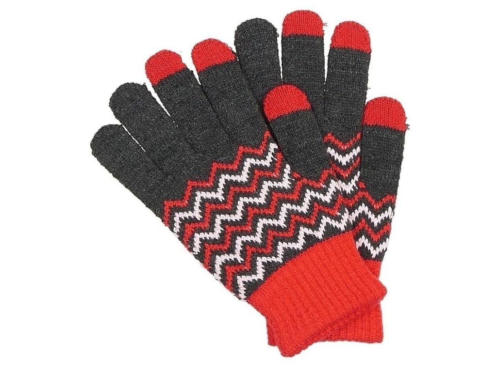 Теплые перчатки для сенсорных дисплеев Territory р.UNI Red-Grey 0214